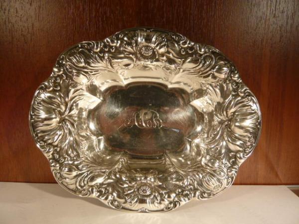 Коварт. конфетница овальная серебро